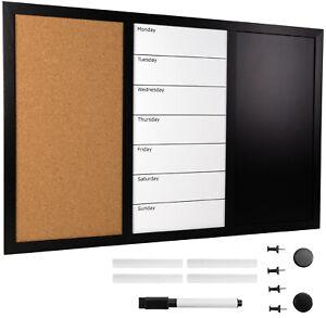 """23.5""""x15"""" Combo Whiteboard/Corkboard/Chalkboard"""