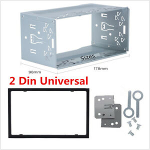 Silver 2Din Metal Car Auto Stereo Radio Fascia Panel Mounting Frame +Accessories