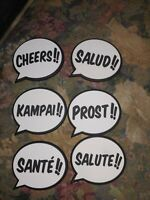 Balvi Set of 6 Polyvinyl Chloride (Pvc) Coasters with Cheers Design Set