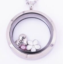 Floating Locket Stainless Steel Waterproof Twist 30mm inc Chain 3 Charms + Pouch