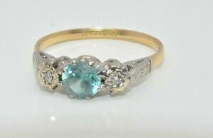 18ct gold & platinum blue zircon & diamond vintage 3 stone ring size O