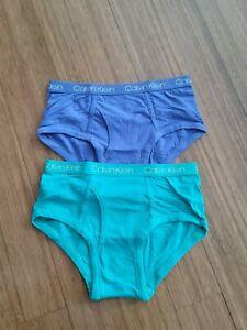 New Boy's CALVIN KLEIN Green/Purple Set Of 2 Briefs size L(12-14)