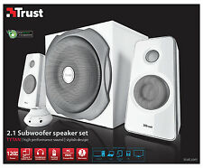 NEW TRUST 18790 2.1 TYTAN 120W WHITE SPEAKER SET FOR PC COMPUTER ETC