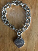 Tiffany & Co Plain Heart Tag Charm Sterling Silver Bracelet
