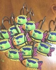 Fun Colorful Fish Shower Curtain Hooks-Set/12- New-Ships Free