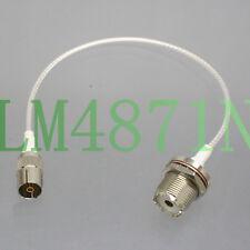 "IEC DVB-T TV Jack to UHF SO239 for CB Ham Radio Antenna RG316 8"" RF Teflon Cable"
