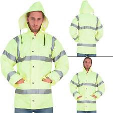 Mens Hi Viz Visibility Storm Padded Parka Hooded Work Security Jacket Size S 4XL