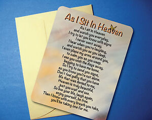 """As I Sit In Heaven"" - Memorial Poem - Greeting Card - Blank Inside - sku# 713"
