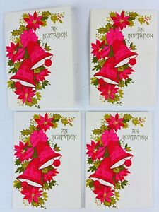 Vintage Birthday Invitation Greeting Card Hallmark  Christmas Poinsettia Pink