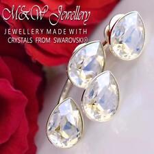 925 Silver Stud Earrings PEAR FANCY STONE Moonlight F Crystals From Swarovski®