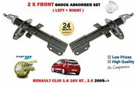 FOR RENAULT CLIO 1.6 2.0 16V GT 2005-> NEW 2 X FRONT SHOCK ABSORBER SHOCKER SET