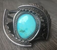 "HEAVY (2 OZ) 2"" TALL VINTAGE NAVAJO TURQUOISE & STERLING SILVER CUFF BRACELET"