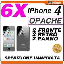 6X PELLICOLA COMPATIBILE CON IPHONE 4 4S OPACA FRONTE + RETRO - POSTA1