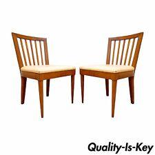 Pair Vintage Mid Century Modern Maple Slat Back Dining Chairs Paul McCobb Style