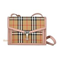 NWT Authentic Burberry Small Macken Vintage Check and Leather Cross Body Bag