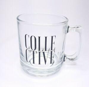 "Clear Coffee Mug Cup ""Collective"" in Black Print, Hot Tea Cocoa Espresso Coffee"