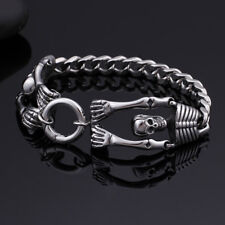 Link Chain bracelet Bangle Mens 8.26'' Pure Stainless steel Sexy skeleton design