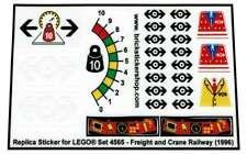 Precut Custom Replacement Stickers voor Lego Set 4565 - Freight and Crane Railwa