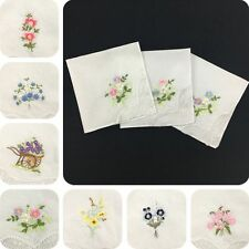 6pcs 100% Cotton Embroidered Ladies Floral Assorted Cloth Handkerchief Napkin