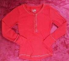 EUC Justice Girls Sz 12 Red Ribbed Long Sleeve Top (QQQ12)
