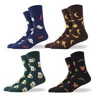Men's Fashion Socks Cotton Novelty Beer chips bananas egg Patterned Dress Socks