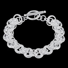 Bracelet Charm Chain for Lady Fashion Unisex Silver Plated Bangle