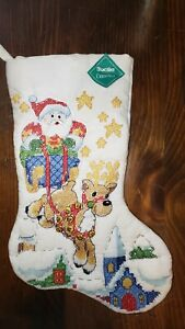 Finished Complete Bucilla Christmas Stocking Over the Rooftops Cross Stitch VTG