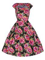 Ladies 40's 50's Black Vintage Large Rose Print Jive Swing Tea Dress New 8 - 18