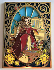 "BEAUTY AND THE BEAST WINTER BELLE ART NOUVEAU STAINED GLASS 3.5"" FANTASY PIN 100"