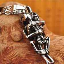 Cadeau Tibet argent acier inoxydable noir crâne collier chaîne pendentif Hot!