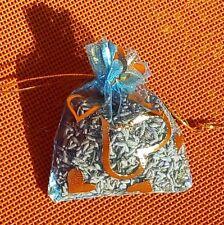 1 sachet de lavande  séchée en organza turquois motif coeur 100% bio pot pourri
