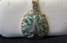14K YG / Sterling Emerald Leaf  Tree of Life Pendant   Gorgeous Different
