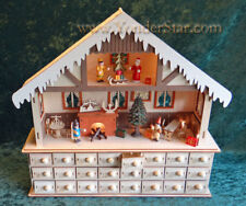 Lighted Wooden House Christmas Advent Calendar Count Down Chalet  Drawers CY0035