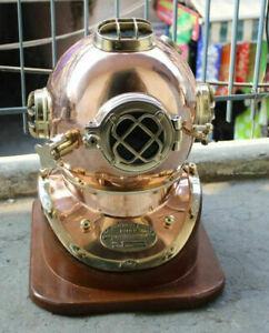 Copper Brass U.S Navy Diving Divers Helmet Mark V Sea Helmet With Base