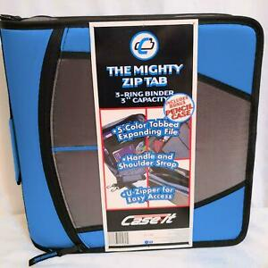 Case-it Mighty Zip Tab O-Ring Binder Blue 3 Inches with Pencil  Case