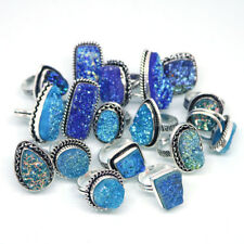 Elegant !! 10 PCs Lot Blue Titanium Druzy .925 Silver Plated Gemstone Rings.