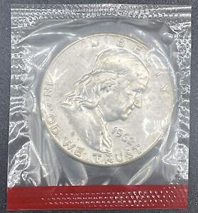 1962 D Silver Ben Franklin Half Dollar 50c Coin in Mint Set Cello
