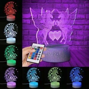 3D Unicorn LED Night Light USB Touch Colour Changing Lamp Kids Xmas Gifts