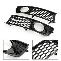 Pair Front Bumper Fog Light Cover Grille Grill Honeycomb For AUDI A4 B6 2001-05*