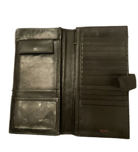 Tumi Mens Leather Nappa Wallet Bifold Business Multiple Credit Cards Black Large