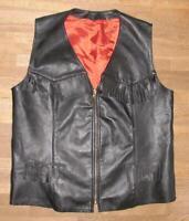 >>> lange LEDERWESTE mit Fransen / Biker- Weste / Kutte in schwarz ca. Gr. 54