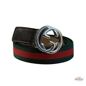 Authentic GUCCI Green Red GG Logo Elasticized Children's Web Belt Size M 258155