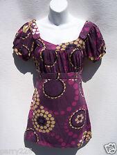 Weavers Women's Purple Black Beige Polka Dots Short Sleeve Top Medium NWT