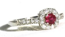 Mogok Pigeon Blood Red Ruby Ring surrounded by Diamonds size 6.5