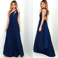 Sexy Bridesmaid Formal Multi Way Wrap Convertible Infinity Maxi Dress Navy Blue