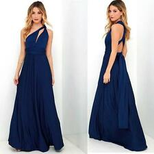 Sexy Bridesmaid Formal Multi Way Wrap Convertible Infinity Maxi Dress Navy Blue