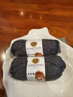 Hometown USA Yarn by Lion Brand Two Skeins Chicago Charcoal Brand New