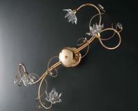 Plafoniera Fiori Cristallo : Plafoniera hanna color oro con pendenti in cristallo 55 cm