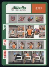 Alitalia Italian Airlines B 777 Airline SAFETY CARD S size brochure 15  sc852 aa