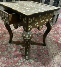 "Antique Wood Table Inlaid Mother of Pearl & Camel Bone 14""x14"""